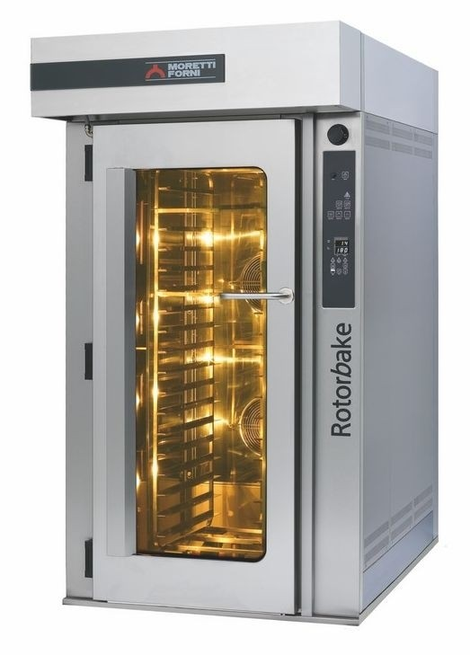 Cuptor rotativ, alimentare gaz, ventilat, cu carucior pentru 18 tavi, consum gaz: 40000W