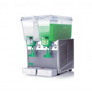 Distribuitor bauturi racoritoare, cu pompa cu efect fantana, 2 grupuri, capacitate 2x20 litri, cuva din policarbonat, structura portanta din inox, compresor ermetic, sistem de amestecare independent pentru fiecare cuva, temperatura ajustabila, nivel de zg