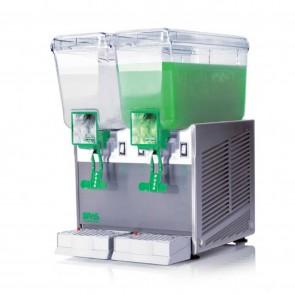 Distribuitor bauturi racoritoare, cu pompa cu efect fantana, sistem gravitational de erogare, 2 grupuri, capacitate 2x12 litri, cuva din policarbonat, structura portanta din inox, compresor ermetic
