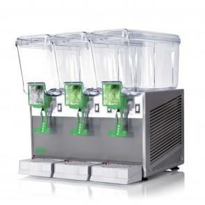 Distribuitor bauturi racoritoare, cu pompa cu efect fantana, sistem gravitational de erogare, 3 grupuri, capacitate 3x12 litri, cuva din policarbonat, structura portanta din inox