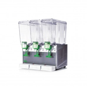 Distribuitor bauturi racoritoare, cu pompa cu efect fantana, 3 grupuri, capacitate 3x20 litri, cuva din policarbonat, structura portanta din inox, compresor ermetic