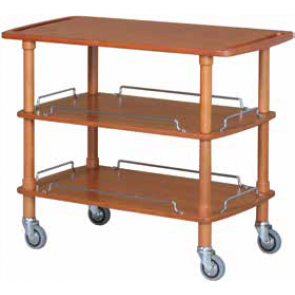 Carucior servire, cu 3 planuri, structura lemn masiv