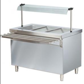 Masa calda bain-marie, capacitate 3xGN1/1, structura din inox, dulap deschis control cu termostat
