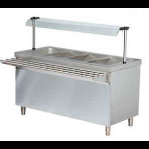 Masa calda bain-marie, capacitate 4xGN1/1, structura din inox, dulap deschis, control cu termostat