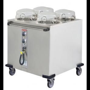 Distribuitor cald pentru farfurii, alimenatre electrica, cu 4 compartimente, capacitate 4x50 farfurii