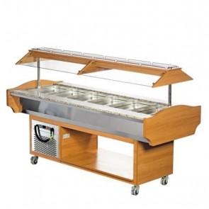 Bufet refrigerat cu cupola, capacitate 6xGN1/1, culoare nuc,  temperatura de lucru +2°C/ +10°C