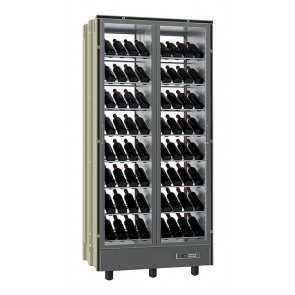 Vitrina verticala pentru vinuri, capacitate 112 sticle, asezate inclinat, iluminata cu LED, putere 360W