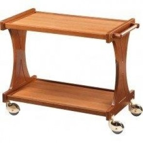 Carucior pentru servire, din lemn, cu 2 polite