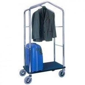 Carucior pentru bagaje cu bara pentru haine, baza din lemn