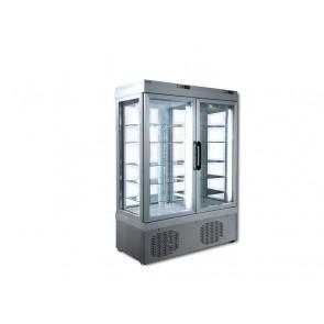 Vitrina verticala dubla pentru produse refrigerate, capacitate 935lt, temperatura +2°C/+10°C, putere 800W