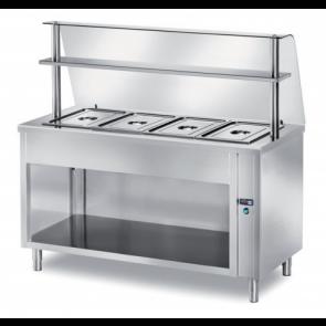 Masa calda self-service, capacitate 4xGN1/1, h 200, baza deschisa, geam curb, structura din inox