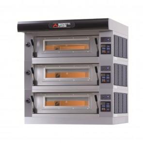 Cuptor pizza, alimentare gaz, cu trei camere de coacere, dimensiuni interioare 1100x1110x180mm