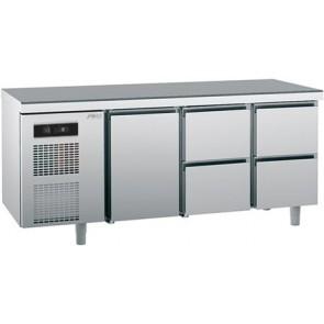 Masa rece cu 1 usa si 4 sertare, capacitate 390 litri, temperatura de lucru  0°C/+10°C, putere 550W
