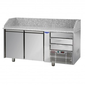 Banc de pizza, cu 2 usi si 3 sertare, capacitate 310 litri, temperatura de lucru 0°C/+10°C