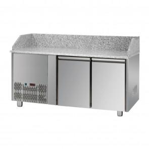 Banc de pizza, cu 2 usi, capacitate 310 litri, motor pe partea stanga, temperatura de lucru 0°C/+10°C
