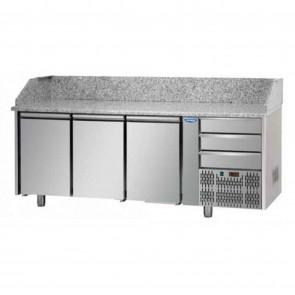 Banc de pizza, cu 3 usi si 3 sertare, capacitate 460 litri, temperatura de lucru 0°C/+10°C