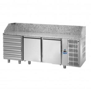 Banc de pizza, cu 2 usi si 6 sertare, capacitate 460 litri, temperatura de lucru 0°C/+10°C