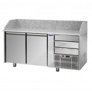 Banc de pizza, cu 2 usi si 6 sertare, temperatura de lucru 0°C - +10°C