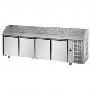 Banc de pizza, cu 4 usi, temperatura de lucru 0°C- +10°C, interior/exterior inox, capacitate neta 880 litri