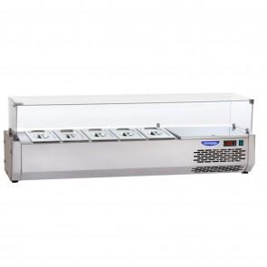 Vitrina de ingrediente, pentru banc de pizza, lungime 1500mm, capacitate 6 cuve GN1/4, temperatura de lucru 0°C/+10°C