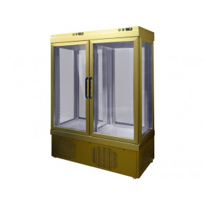 Vitrina verticala dubla pentru produse refrigerate, capacitate 935 litri, temperatura +2°C/+10°C, putere 800W