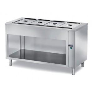Masa calda bain-marie, self-service, capacitate 4xGN1/1, suport deschis, structura din inox