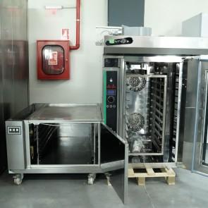 Cuptor cu sistem rotativ de coacere, electric, structura inox, second hand, capacitate 10 tavi,  dospitor, capacitate 12 tavi