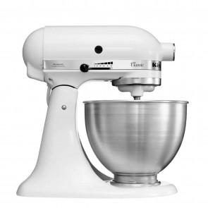 Mixer KitchenAid de uz casnic, model Classic, culoare alba, cap rabatabil, capacitatea de 4.30 litri, putere 275 W